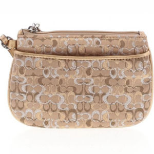 NEW AUTH Coach Tan Monogram Clutch/Wristlet